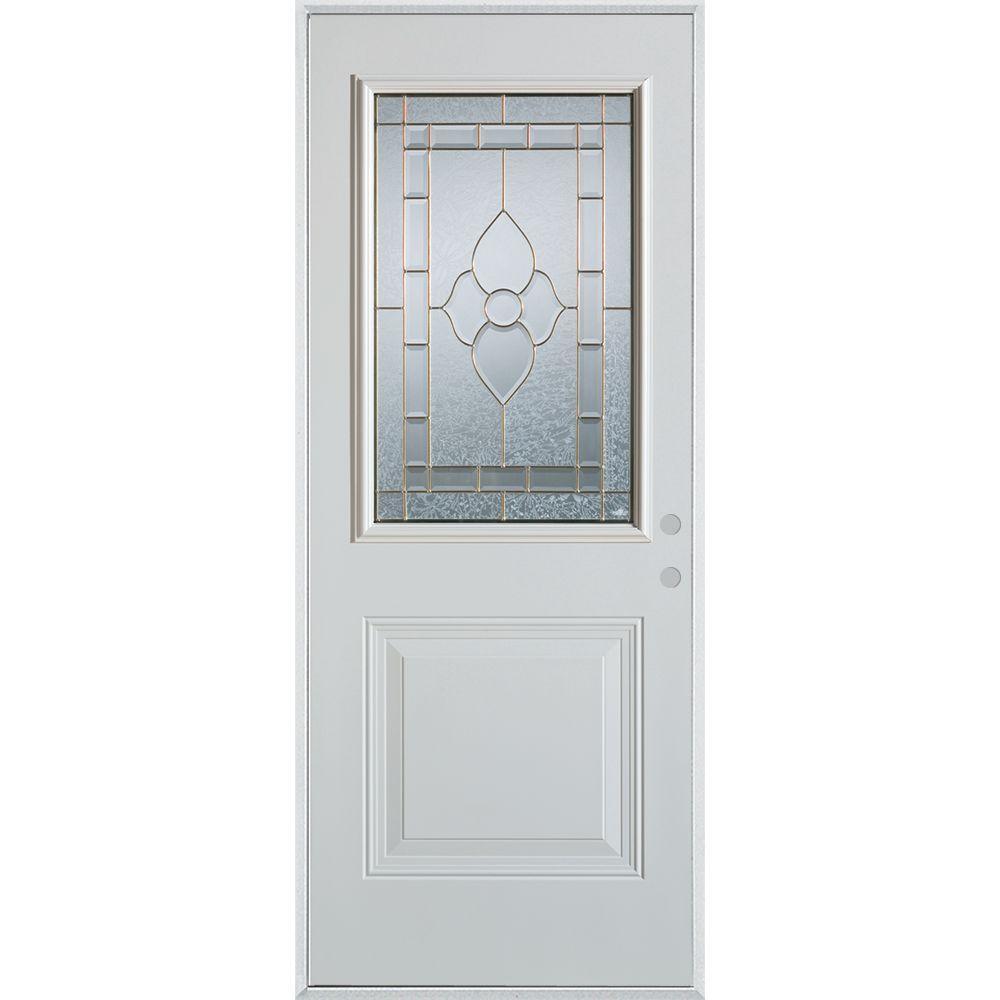 Stanley Doors 33.375 in. x 82.375 in. Traditional Patina 1/2 Lite 1-Panel Painted White Left-Hand Inswing Steel Prehung Front Door