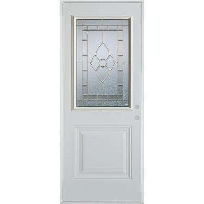 33.375 in. x 82.375 in. Traditional Patina 1/2 Lite 1-Panel Painted White Left-Hand Inswing Steel Prehung Front Door