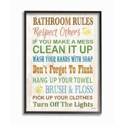 "11 in. x 14 in. ""Bathroom Rules Typography Rubber Ducky"" by Janet White Wood Framed Wall Art"