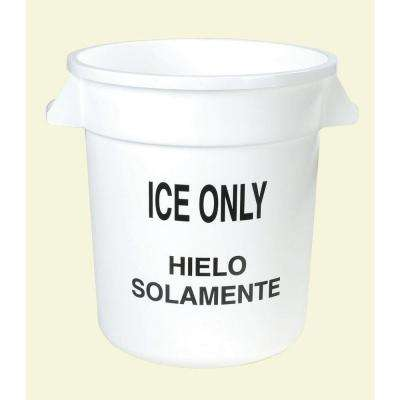 Bronco 10 Gal. White Round Trash Can Imprinted with Ice Only (6-Pack)