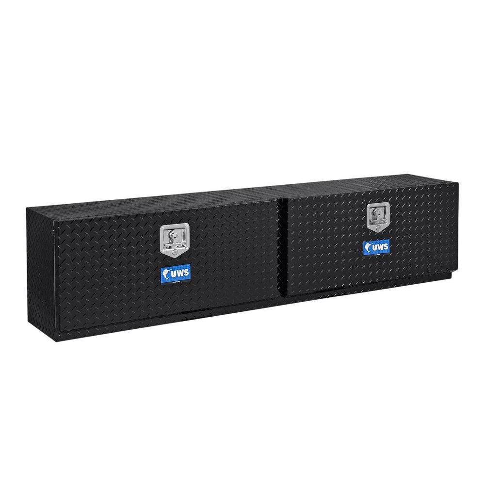 96 in. Aluminum Topsider Black Double Door Tool Box