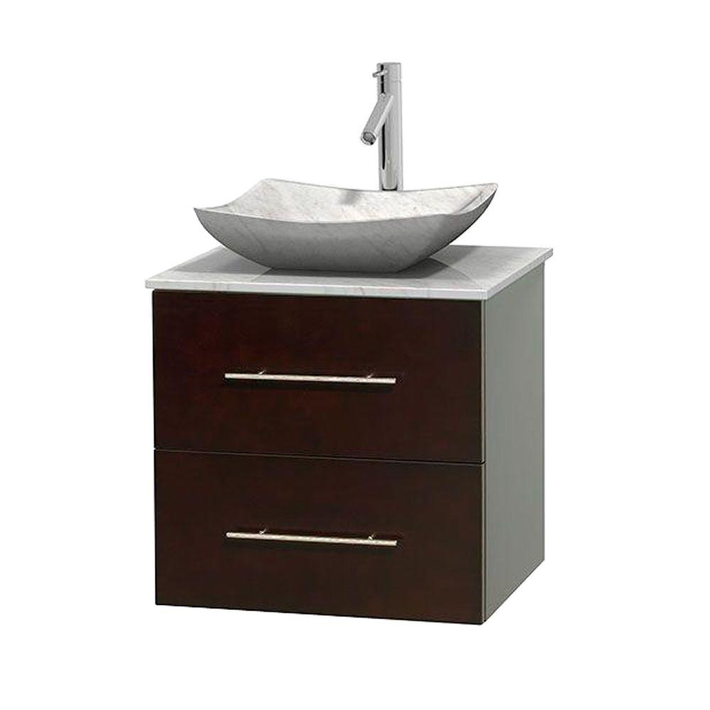 Wyndham Collection Centra 24 in. Vanity in Espresso with Marble Vanity Top in Carrara White and Sink