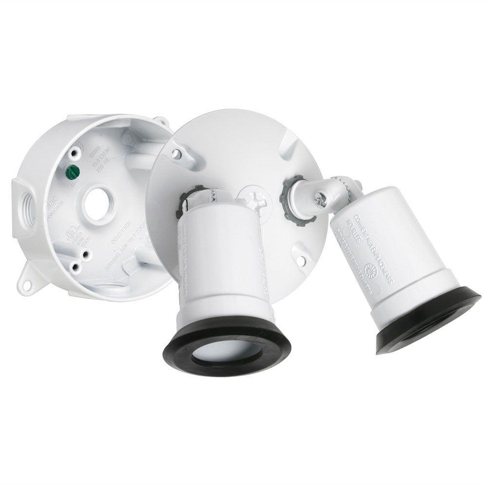 BELL White Outdoor Flood Light Weatherproof Lampholder Kit