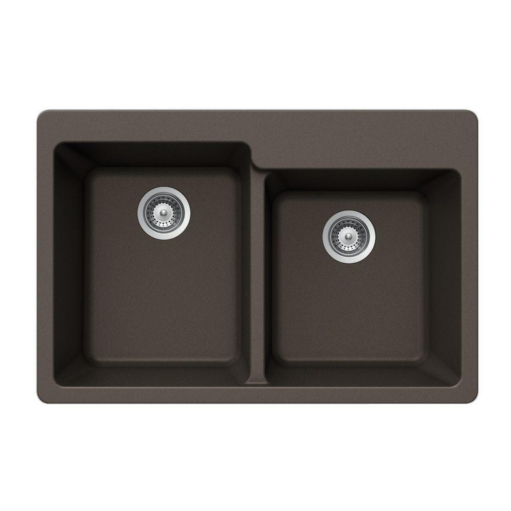 HOUZER Alive Series Drop-In Granite 33x22x9.5 0-hole Double Basin Kitchen Sink in Bronze