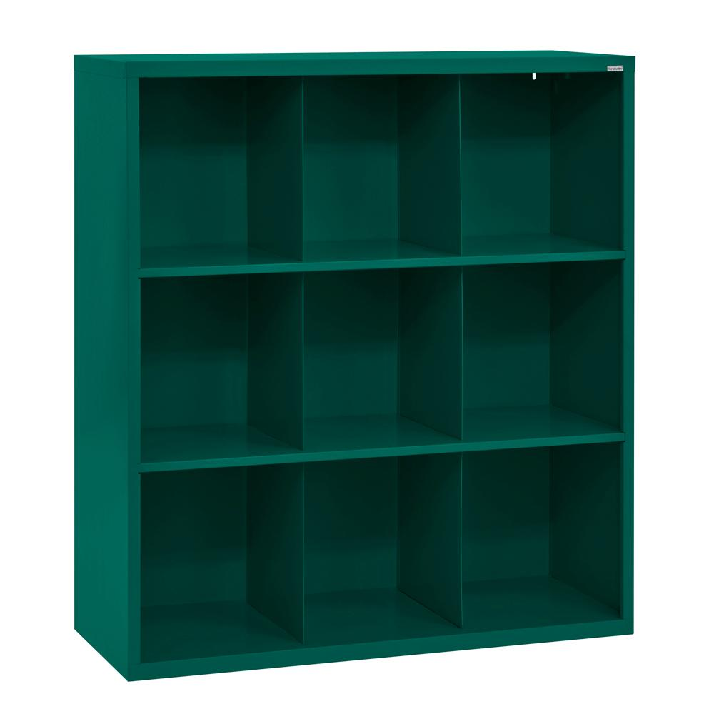 Cubby 46 in. x 52 in. Forest Green 9-Cube Organizer