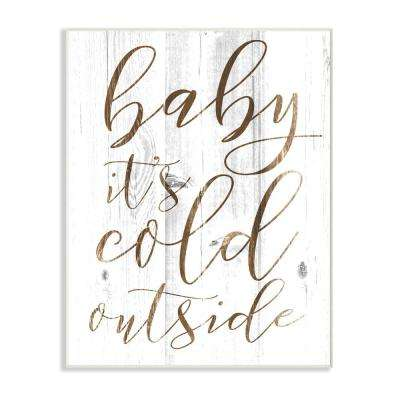 "12.5 in. x 18.5 in. ""Baby Its Cold Outside"" by Daphne Polselli Printed Wood Wall Art"