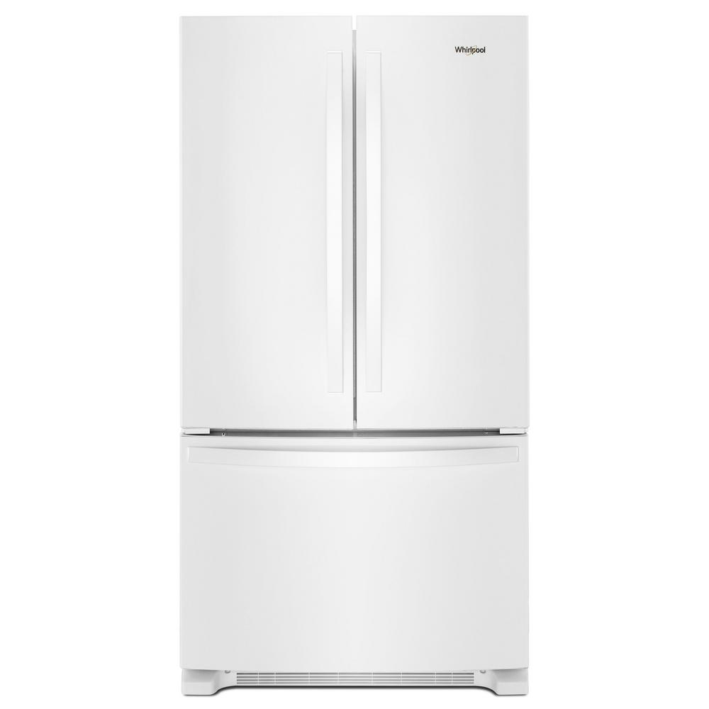 French Door Refrigerator In White With Internal Water Dispenser