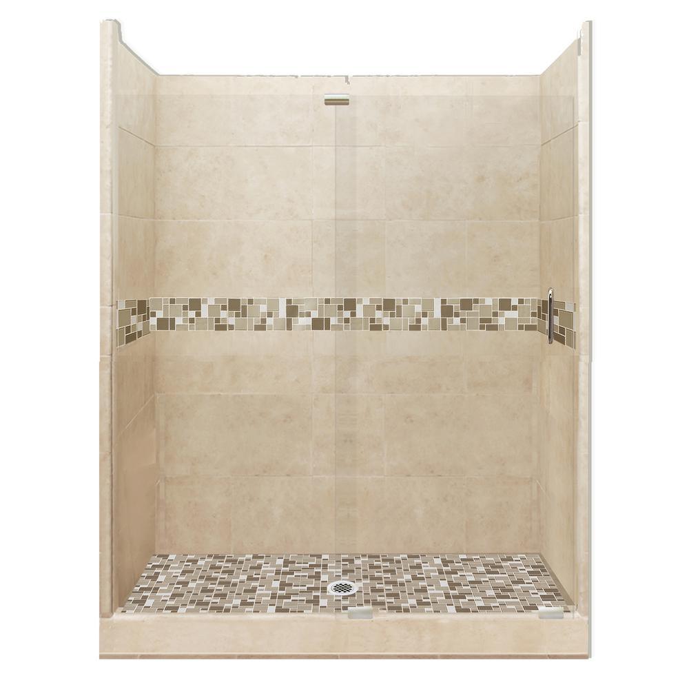 Tuscany Grand Slider 42 in. x 60 in. x 80 in. Center Drain Alcove Shower Kit in Brown Sugar and Satin Nickel Hardware