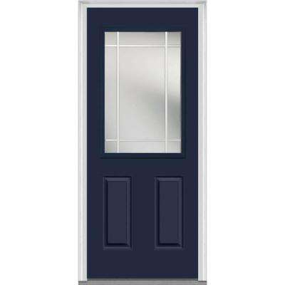 32 in. x 80 in. Prairie Internal Muntins Right-Hand Inswing 1/2-Lite Clear Painted Fiberglass Smooth Prehung Front Door
