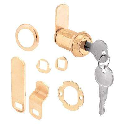 1-1/8 in. Brass Drawer and Cabinet Keyed Cam Lock
