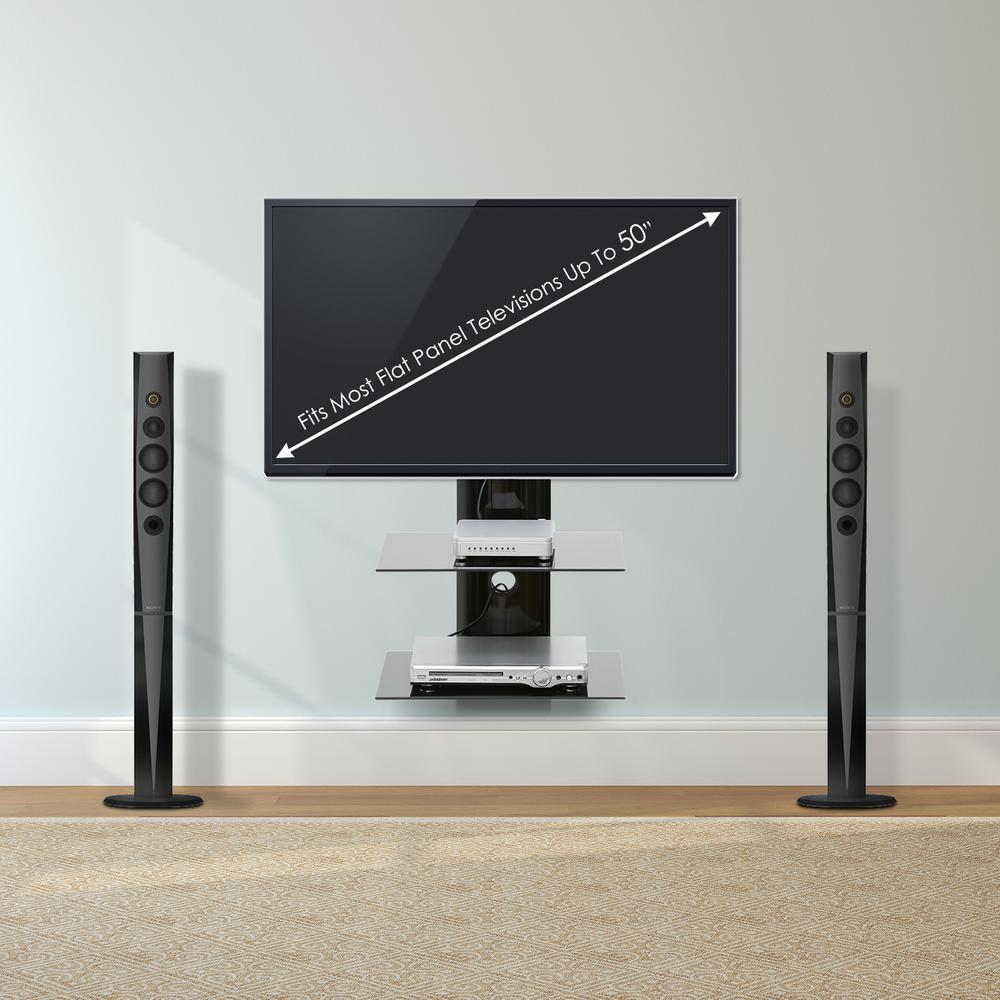 Furinno Modern 18 In Black Glass Floating Entertainment Center Fits Tvs Up To 50 In With Wall Panel Frl001bk The Home Depot