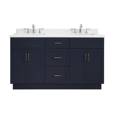 Lincoln 60 in. W x 22 in. D Vanity in Midnight Blue with Marble Vanity Top in White with White Sink