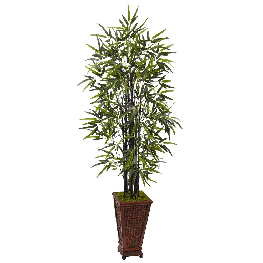 Nearly Natural Indoor Black Bamboo Artificial Tree In Decorative Planter 5806 The Home Depot