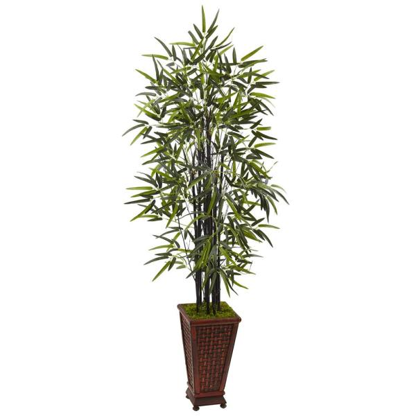 Nearly Natural Indoor Black Bamboo Artificial Tree In Decorative Planter