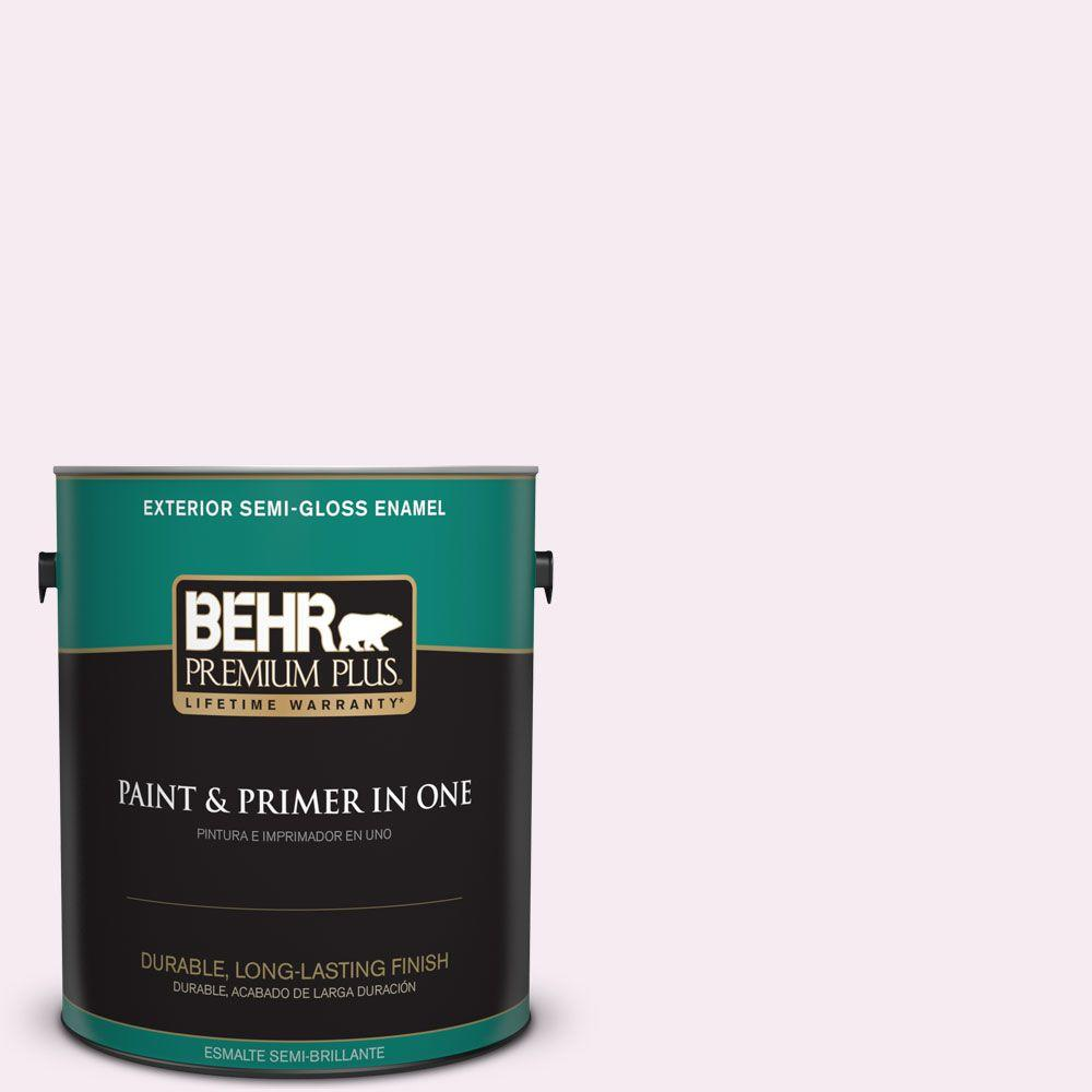 1-gal. #100A-1 Barely Pink Semi-Gloss Enamel Exterior Paint