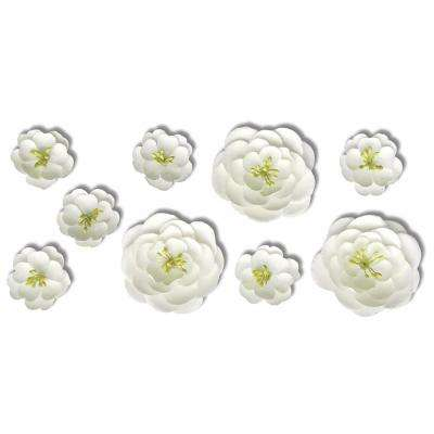 Flowers wall decals wall decor the home depot white flower 9 piece surface embellishments mightylinksfo
