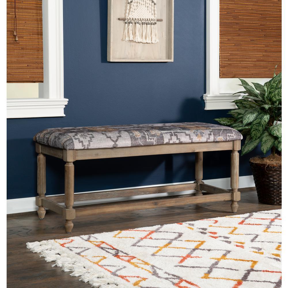 Linon Kristin Grey Kilim Print Bench