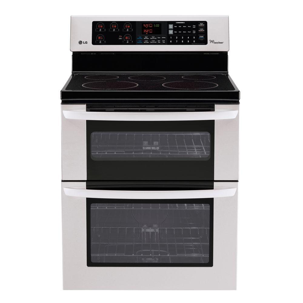 LG Electronics 6.7 cu. ft. Double Oven Electric Range with EasyClean Self-Cleaning Oven in Stainless Steel