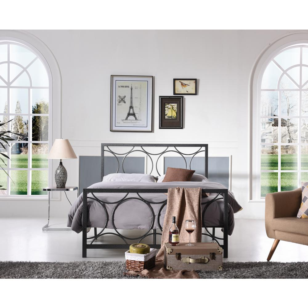 Hodedah Black and Silver Queen Bed Frame