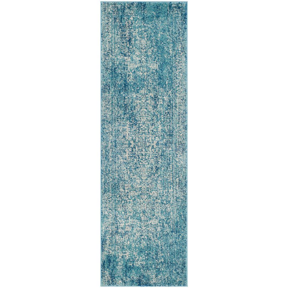 Evoke Blue/Ivory 2 ft. 2 in. x 15 ft. Runner Rug
