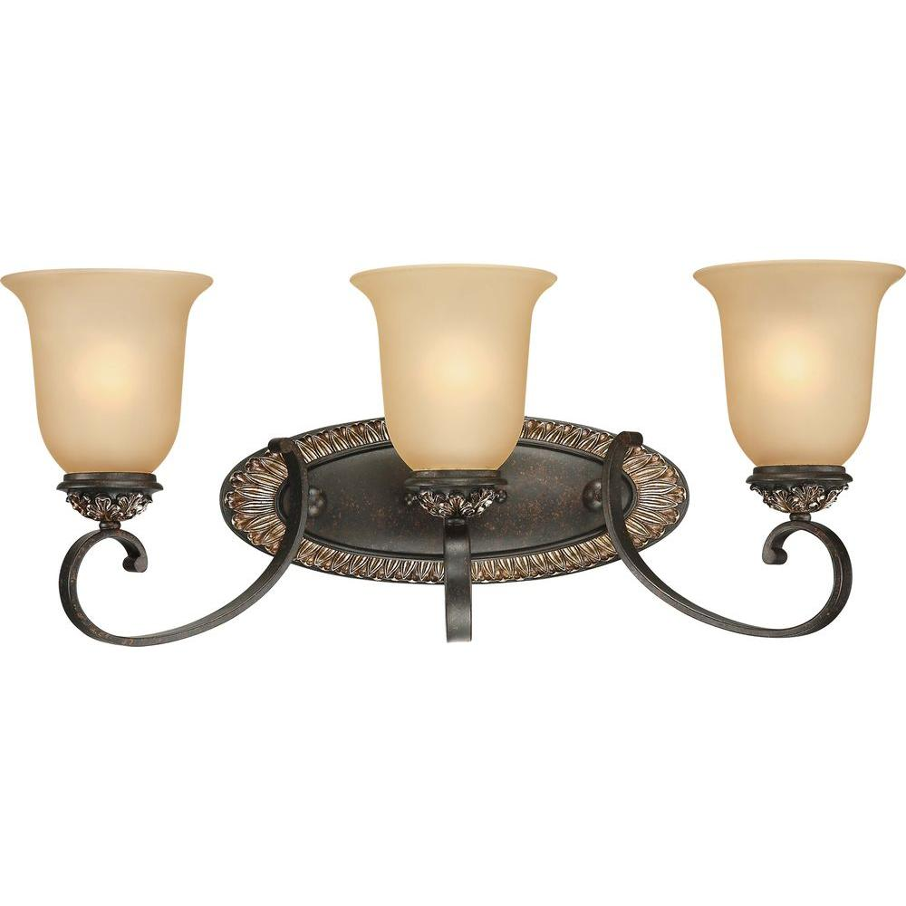 Volume Lighting Bristol 3 Light Vintage Bronze And Antique Gold Bathroom  Vanity Light