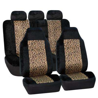 Fabric 21 in. x 21 in. x 1 in. Leopard Full Set Seat Covers