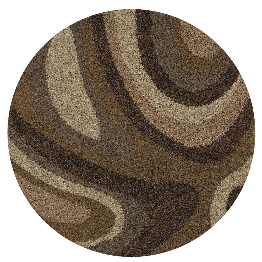 Mohawk Home Ink Swirl Camel 8 ft. Round Area Rug