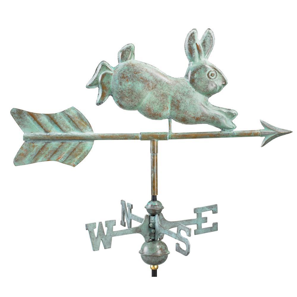 Rabbit Cottage Weathervane - Blue Verde Copper with Roof Mount