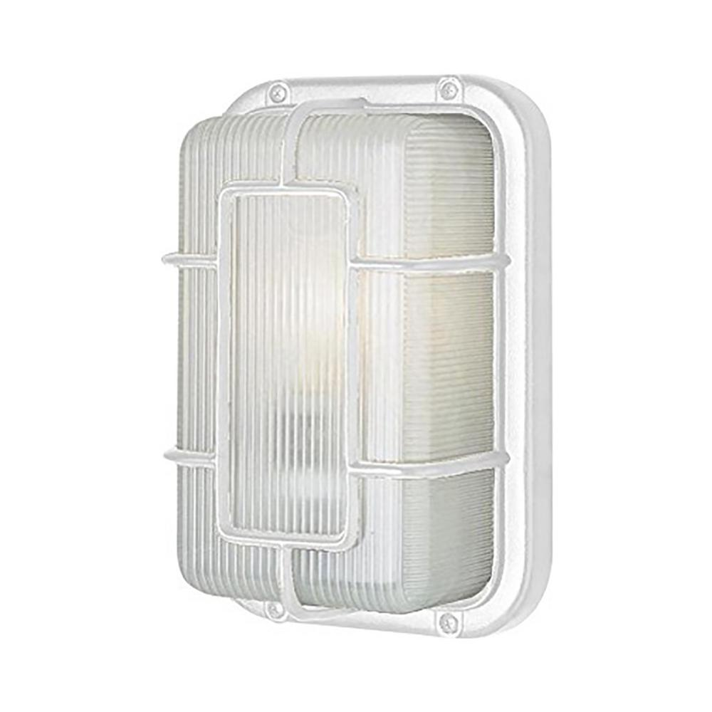 Metro White 1-Light Outdoor Bulkhead