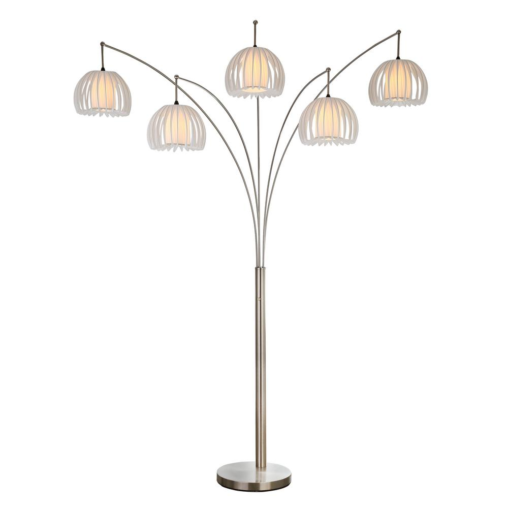 Artiva Zucca Brushed Steel 89 In 5 Arc Led Floor Lamp With Dimmer