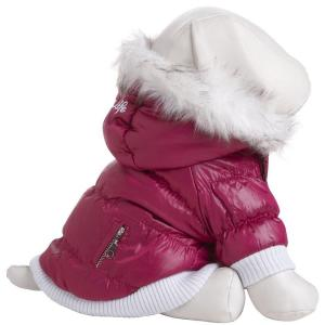PET LIFE Large Pink Metallic Fashion Parka with Removable Hood by PET LIFE