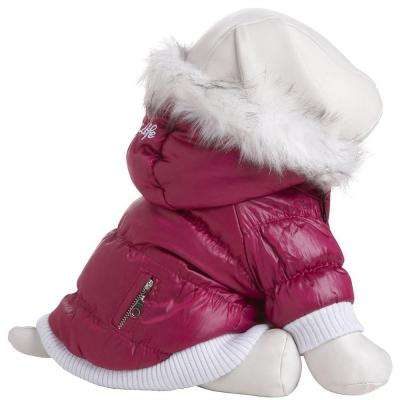X-Small Pink Metallic Fashion Parka with Removable Hood