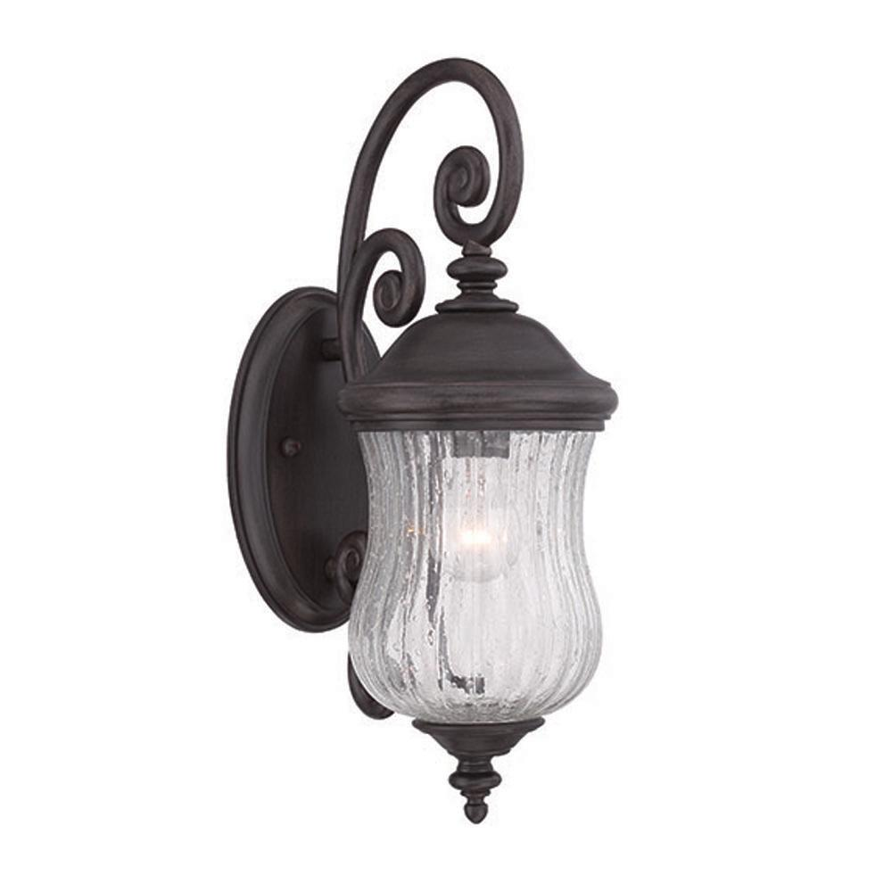 Bellagio 1-Light Black Coral Outdoor Wall Lantern Sconce