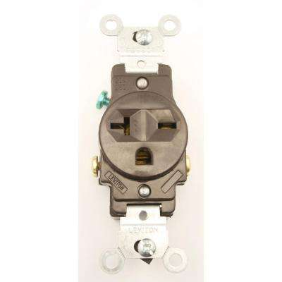 20 Amp Commercial Grade Double-Pole Single Outlet, Brown