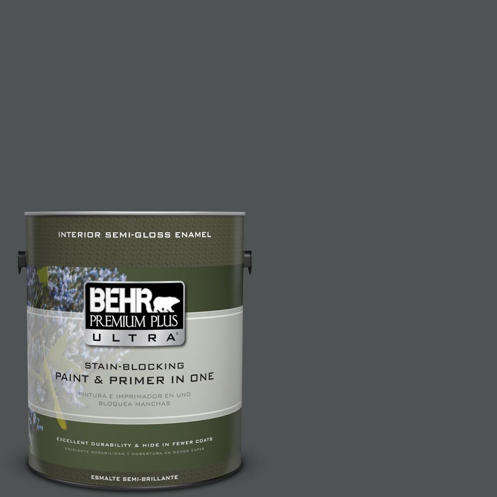 1 gal. #PPU25-01 Carbon Copy Semi-Gloss Enamel Interior Paint