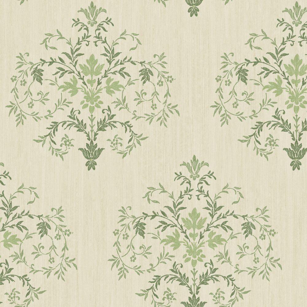 The Wallpaper Company 56 sq. ft. Green and Cream Delicate Mid-Scale Damask with Textural Background Wallpaper-DISCONTINUED
