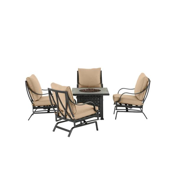 Highland Point Black Pewter 5-Piece Aluminum Outdoor Patio Fire Pit Set with Sunbrella Beige Tan Cushions