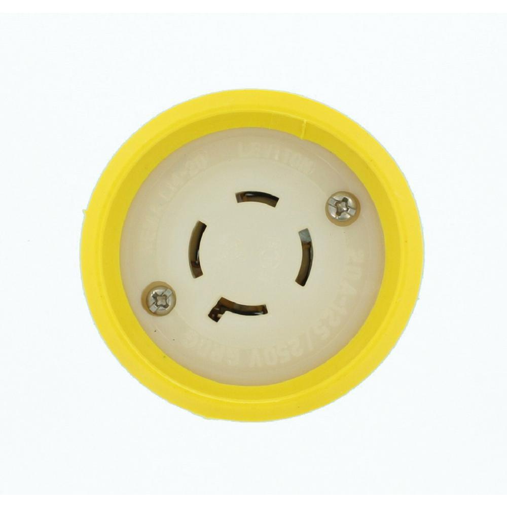 20 Amp 125/250-Volt Wetguard Locking Grounding Connector, Yellow