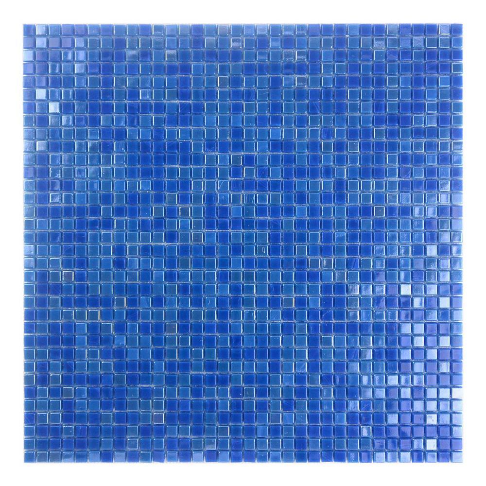Constellation Dark Blue 11.7 in. x 11.7 in. x 3.20 mm Glass Mosaic Tile