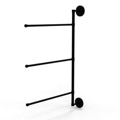 Prestige Regal Collection 3 Swing Arm Vertical 28 in. Towel Bar in Matte Black