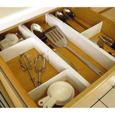 Expandable 16 in. to 21 in. White Plastic Kitchen Drawer Dividers, 5-Piece Set
