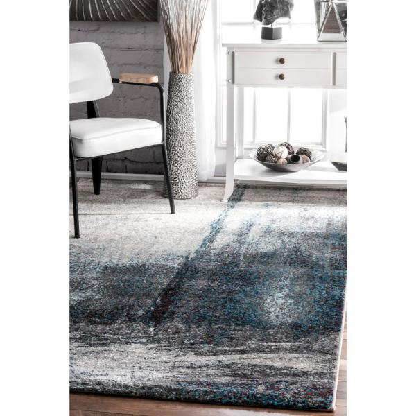 Nuloom Noreen Abstract Gray 7 Ft X 9 Ft Area Rug Eccr21a 6709 The Home Depot