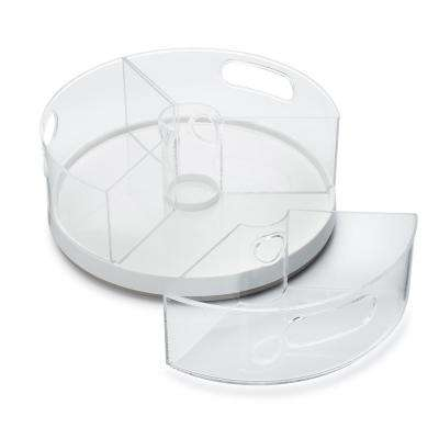 11 in. Dia Crazy Susan with Bins, White Lazy Susan Turntable