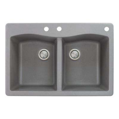 Aversa Drop-in Granite 33 in. 3-Hole Equal Double Bowl Kitchen Sink in Grey