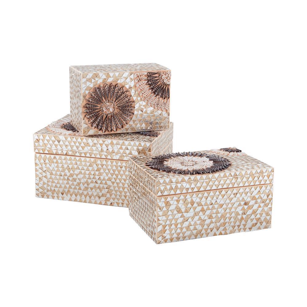 Urchin 14 in. x 3 in. Natural Capiz Shell Decorative Box,...