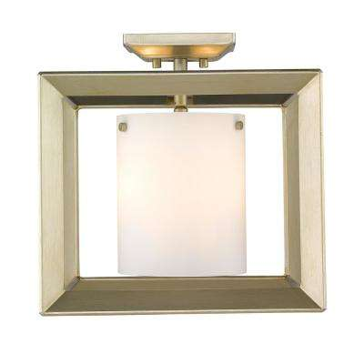 Smyth WG 3-Light White Gold 12 in. Semi-Flushmount with Opal Glass