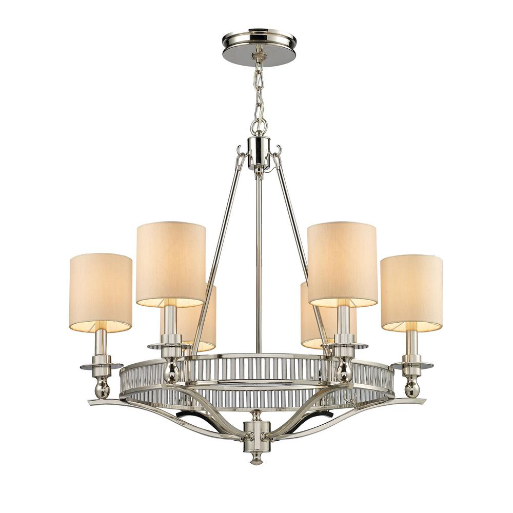 Titan Lighting Braxton 6 Light Polished Nickel Chandelier With Tan Fabric Shades
