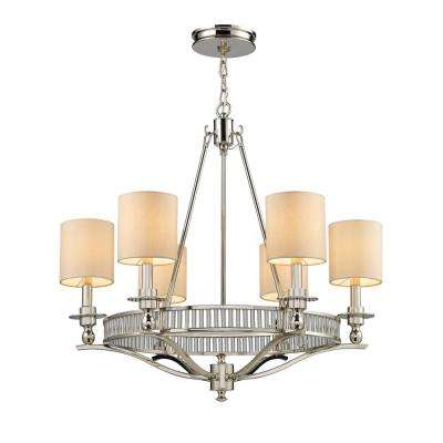 Braxton 6-Light Polished Nickel Chandelier with Tan Fabric Shades