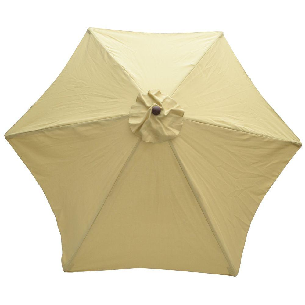 Plantation Patterns 9 ft. Wood Patio Umbrella in Cayenne Tan-DISCONTINUED