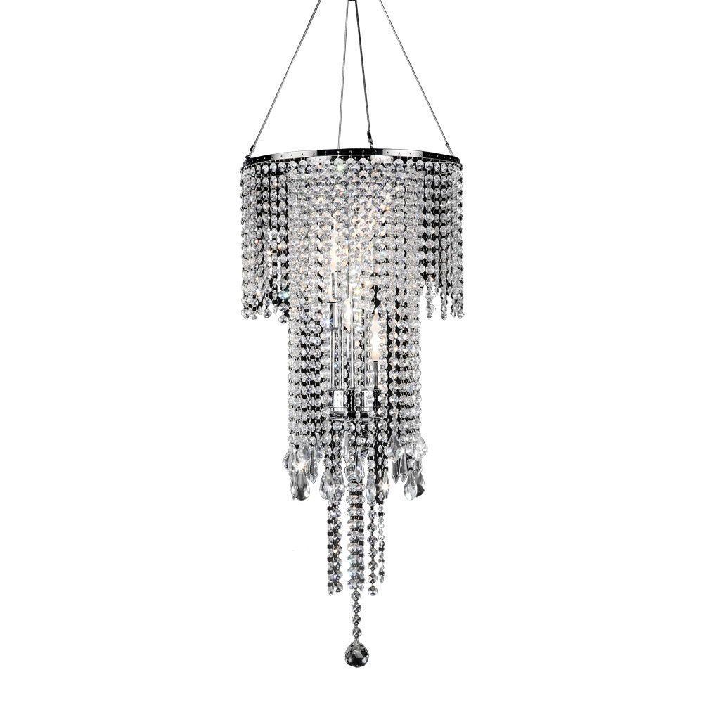 OK LIGHTING 5-Light Silver Rain Metal Ceiling Lamp